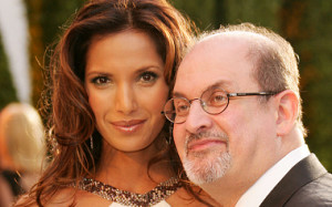 WEST HOLLYWOOD, CA - MARCH 05: Padma Lakshmi and writer Salman Rushdie arrive at the Vanity Fair Oscar Party at Mortons on March 5, 2006 in West Hollywood, California. (Photo by Evan Agostini/Getty Images)